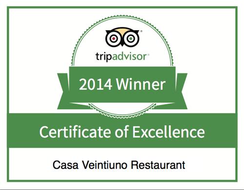 Een Tripadvisor Award voor het Casa Veintiuno Restaurant